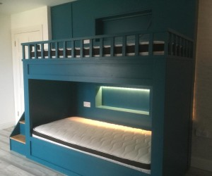 Solid wood bunk bed in aquamarine blue